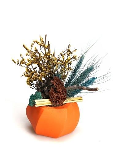 Kibrithane Çiçek Yapay Çiçek Dekoratif Beton Saksı Kuru Çiçek Aranjman Kc00200837 Renkli